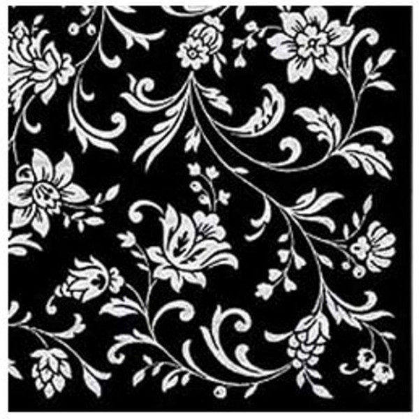 Serviettes noires Arabesque Black White-Black, 33 cm - paquet de 20 serviettes