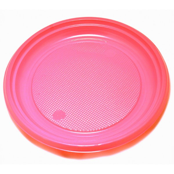 "Grandes assiettes en plastique rose, 9"" - paquet de 30 assiettes"